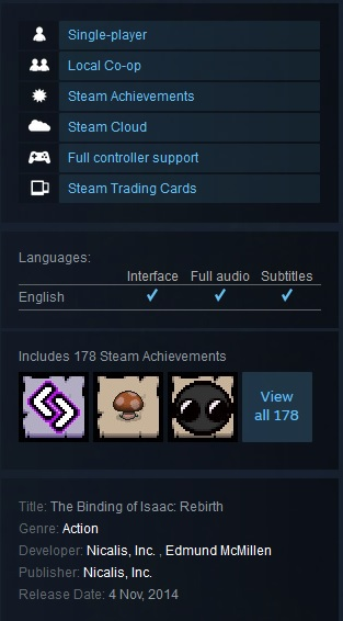 The Binding of Isaac: Rebirth (Steam Gift Region Free)
