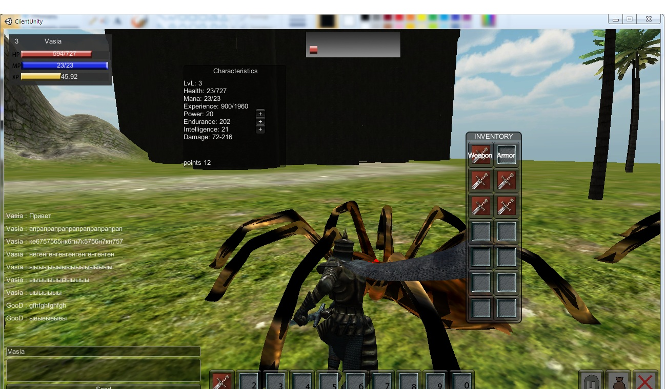Unity3d client-server MMORPG ver 4
