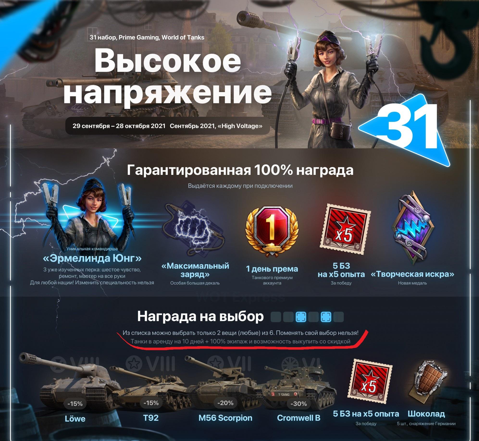 World of Tanks пакет ВЫСОКОЕ НАПРЯЖЕНИЕ / High Voltage