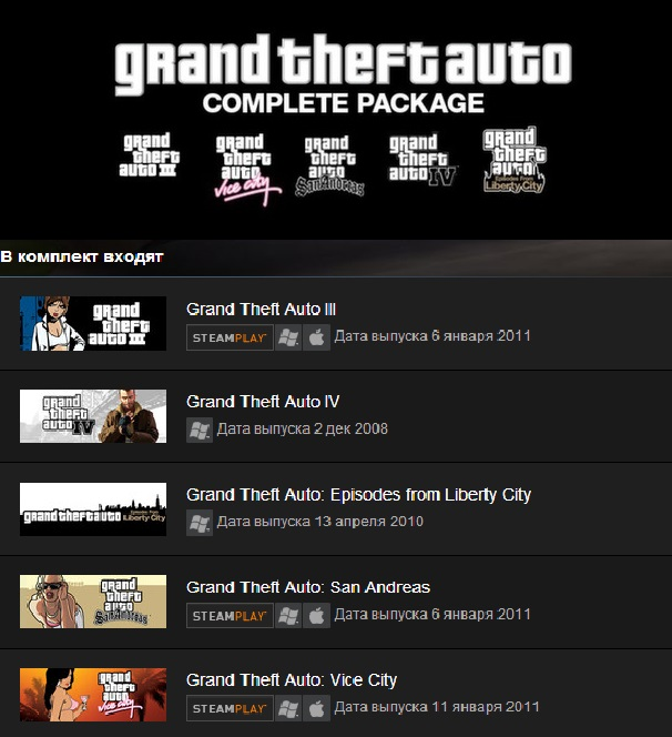Grand Theft Auto Complete Pack (Steam Gift/ RegionFree)