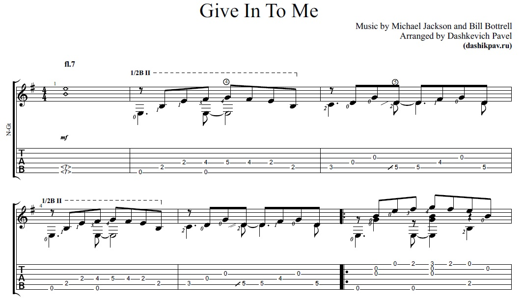 Give In To Me (Michael Jackson)-ноты и табы для гитары