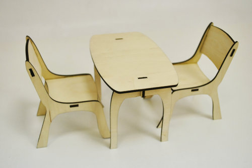Tables and chairs for dolls own hands.