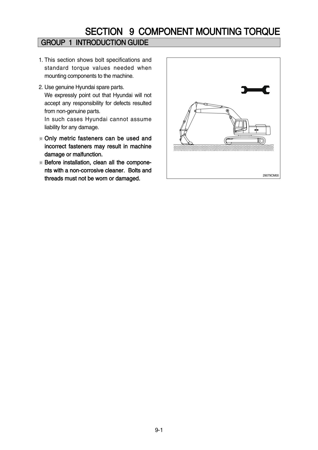 Repair Manual Hyundai R450LC-7A, 500LC-7A