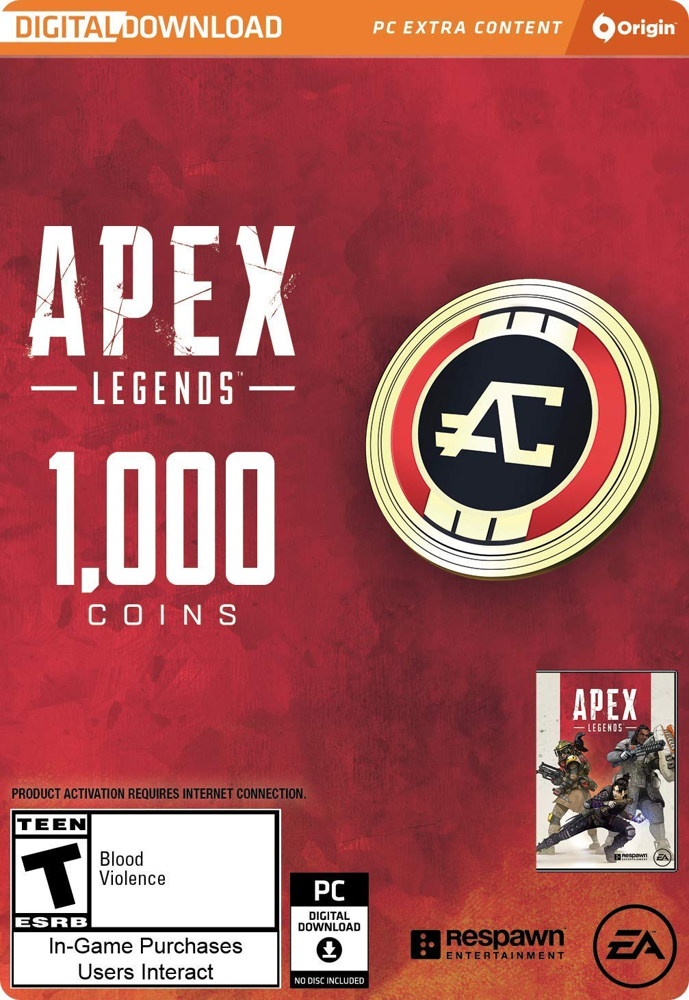 APEX LEGENDS - 1,000 APEX COINS (ORIGIN) | GLOBAL