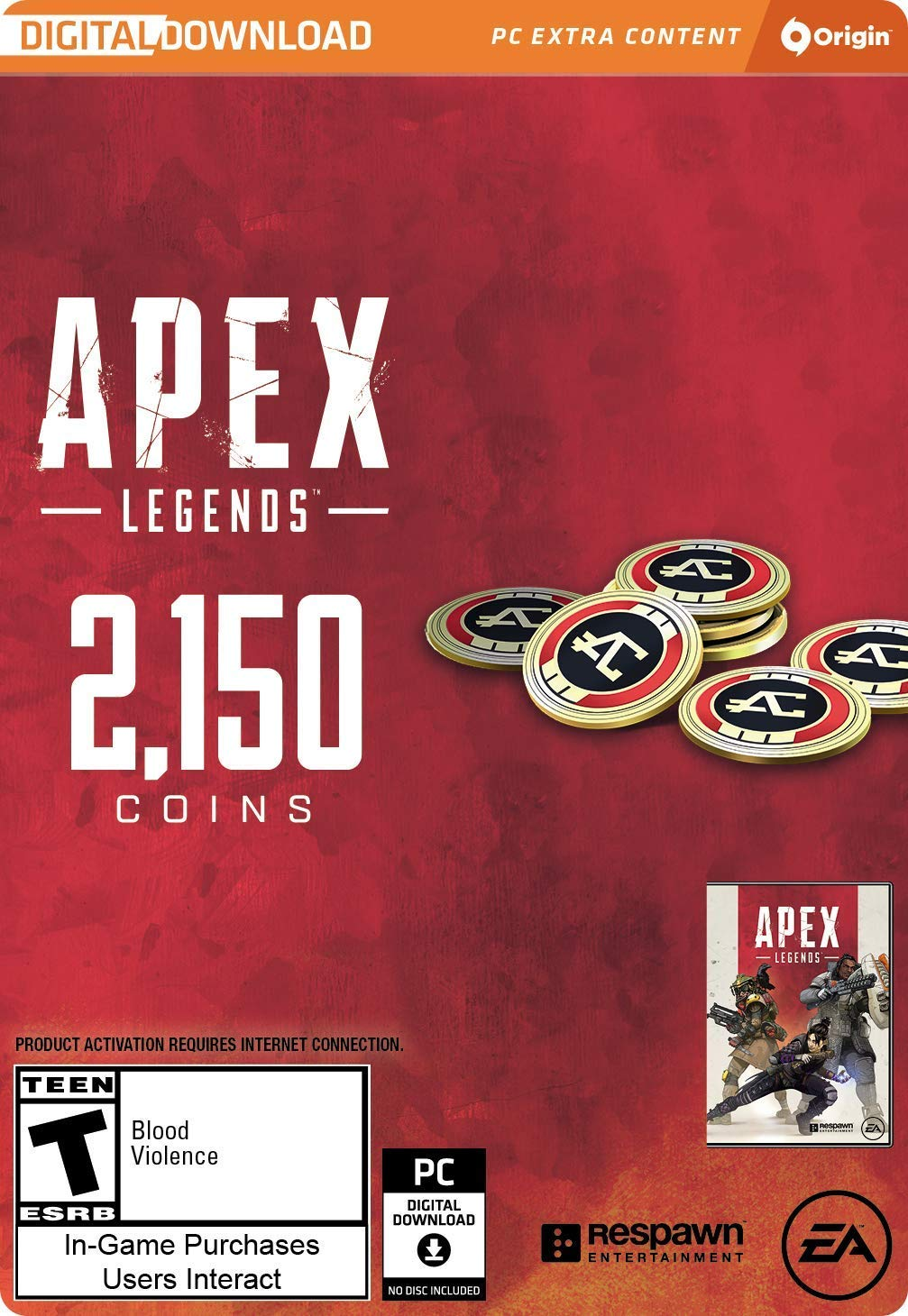 APEX LEGENDS - 2,150 APEX COINS (ORIGIN) | GLOBAL 2019