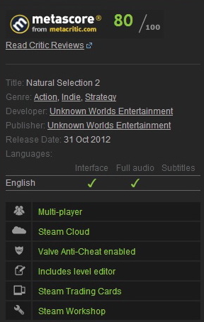 Natural Selection 2 (Steam Gift / Region Free)