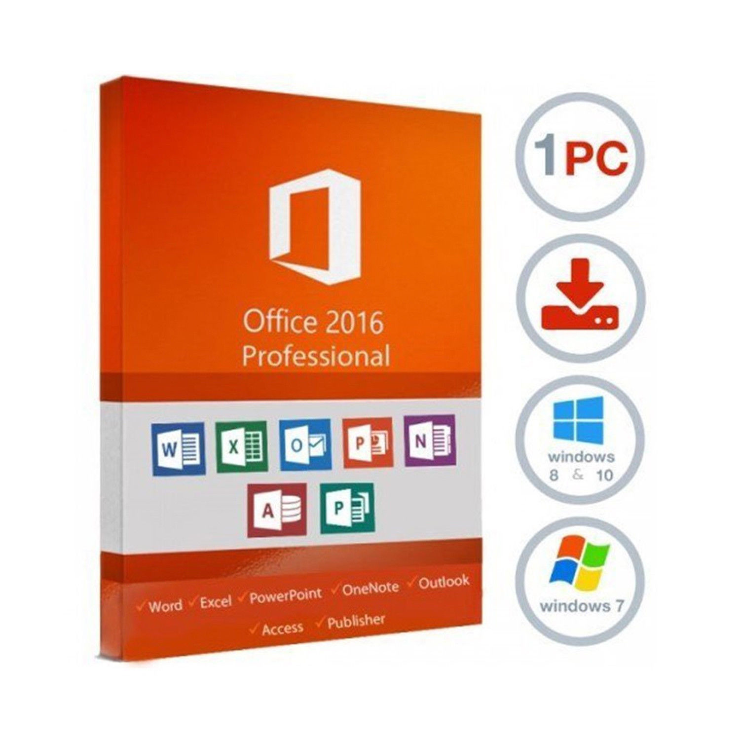 Microsoft Office Pro plus 2016 1 PC