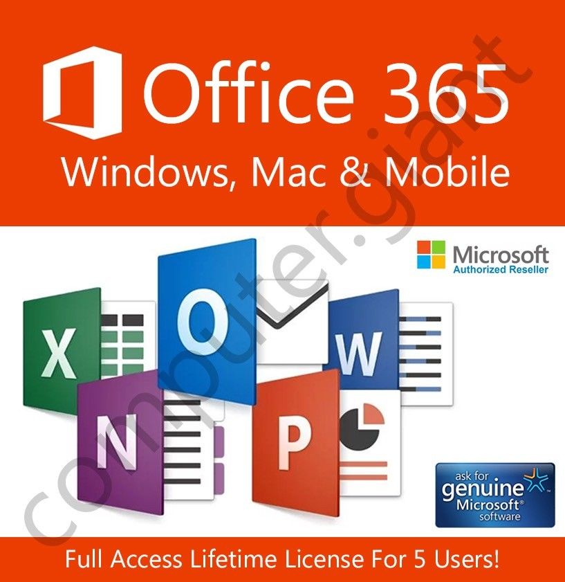 Microsoft Office 365, 1 TB OneDrive 5 PC unlimited