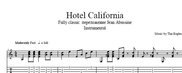"Sheet tabs Eagles ""Hotel California"" fully classic tabs"