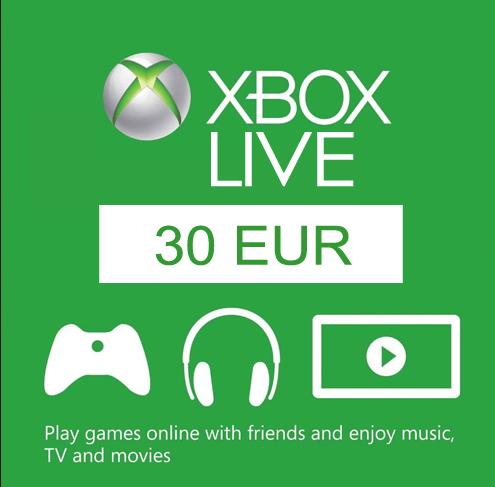 Xbox Live Gift Card 30 EUR ✅(CODE FOR EU REGION)