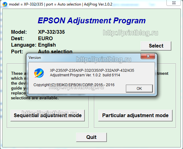 Adjustment program Epson XP-235, XP-235A, XP-332 XP-335
