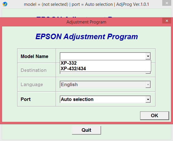 Adjustment program Epson XP-332, XP-432, XP-434