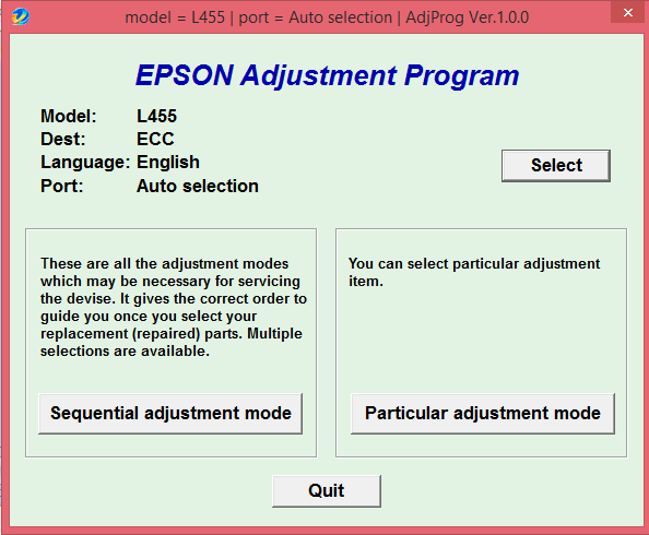 Adjustment program Epson L455, L456