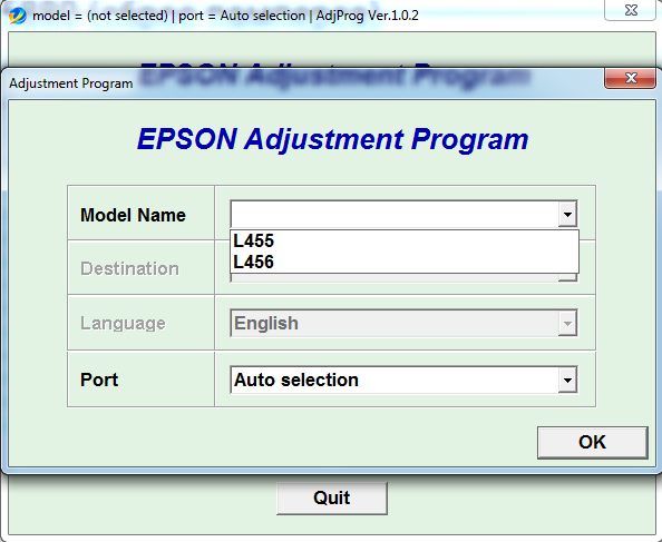 Adjustment program Epson L455, L456
