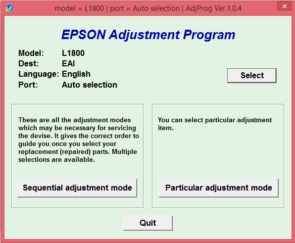 Adjustment program Epson L1800