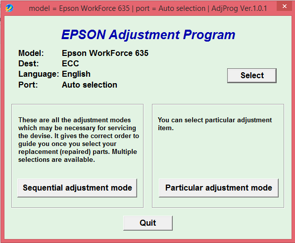 Adjustment program Epson WorkForce 630 / 633 / 635