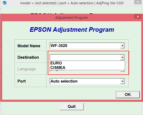 Adjustment program Epson WF3010, WF3520, WF3530, WF3540