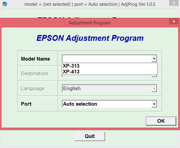 Adjustment program Epson XP-313, 413