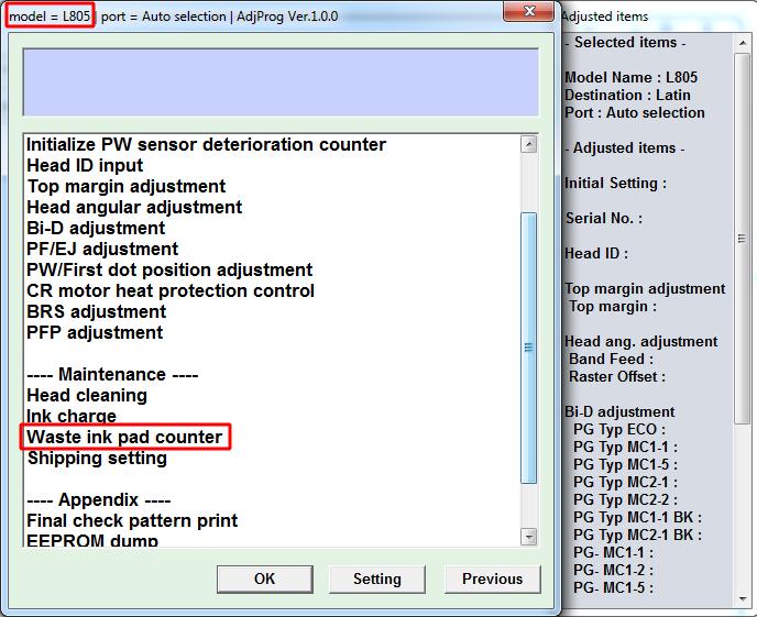 Adjustment program Epson L805