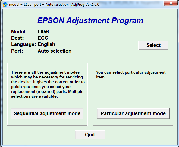 Adjustment program Epson L656
