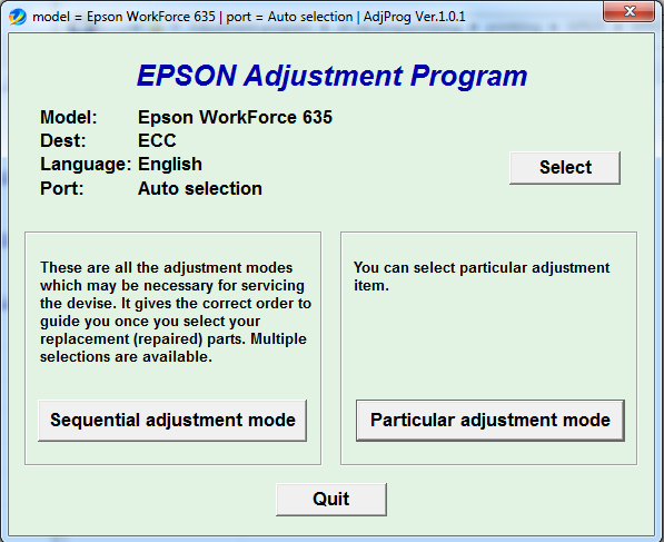 Adjustment program Epson WorkForce 633 All-in-One Print