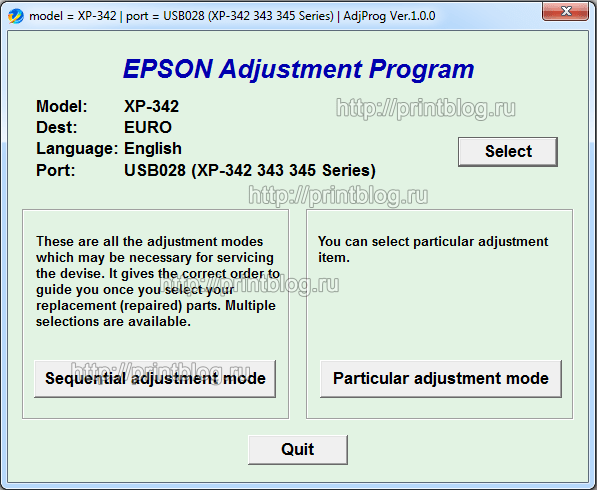 Adjustment program Epson XP-342 (340) reset ink counter