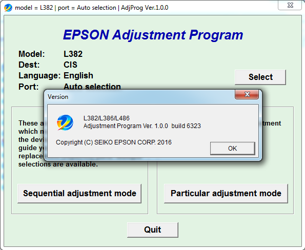 برنامج epson adjustment program l382