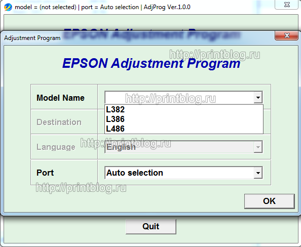 Adjustment program Epson L382, L386, L486 (EURO, CIS)