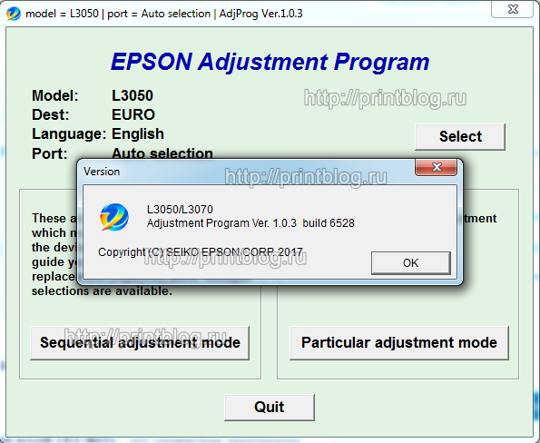 EPSON L3050, L3070 Adjustment program Ver. 1.0.3 build