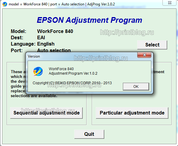 Adjustment program Epson WF 840, 845 (Reset)