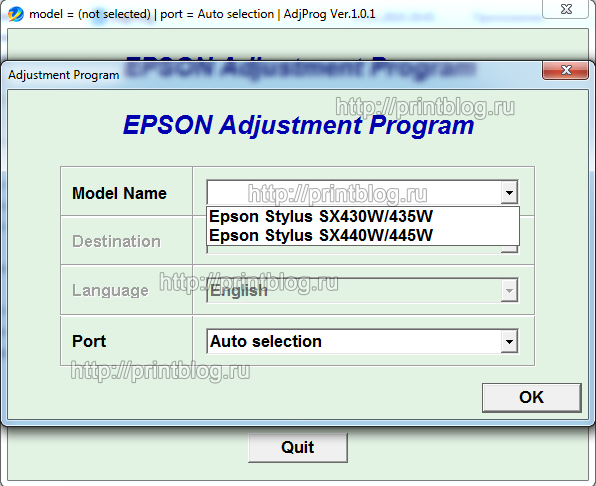 Adjustment program для Epson Stylus SX430W, SX435W