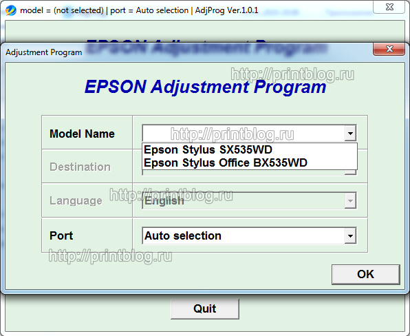 Adjustment program Epson SX535WD Office BX535WD (Reset)