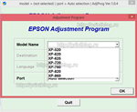 Adjustment program XP520, XP625, XP720, XP760, XP860