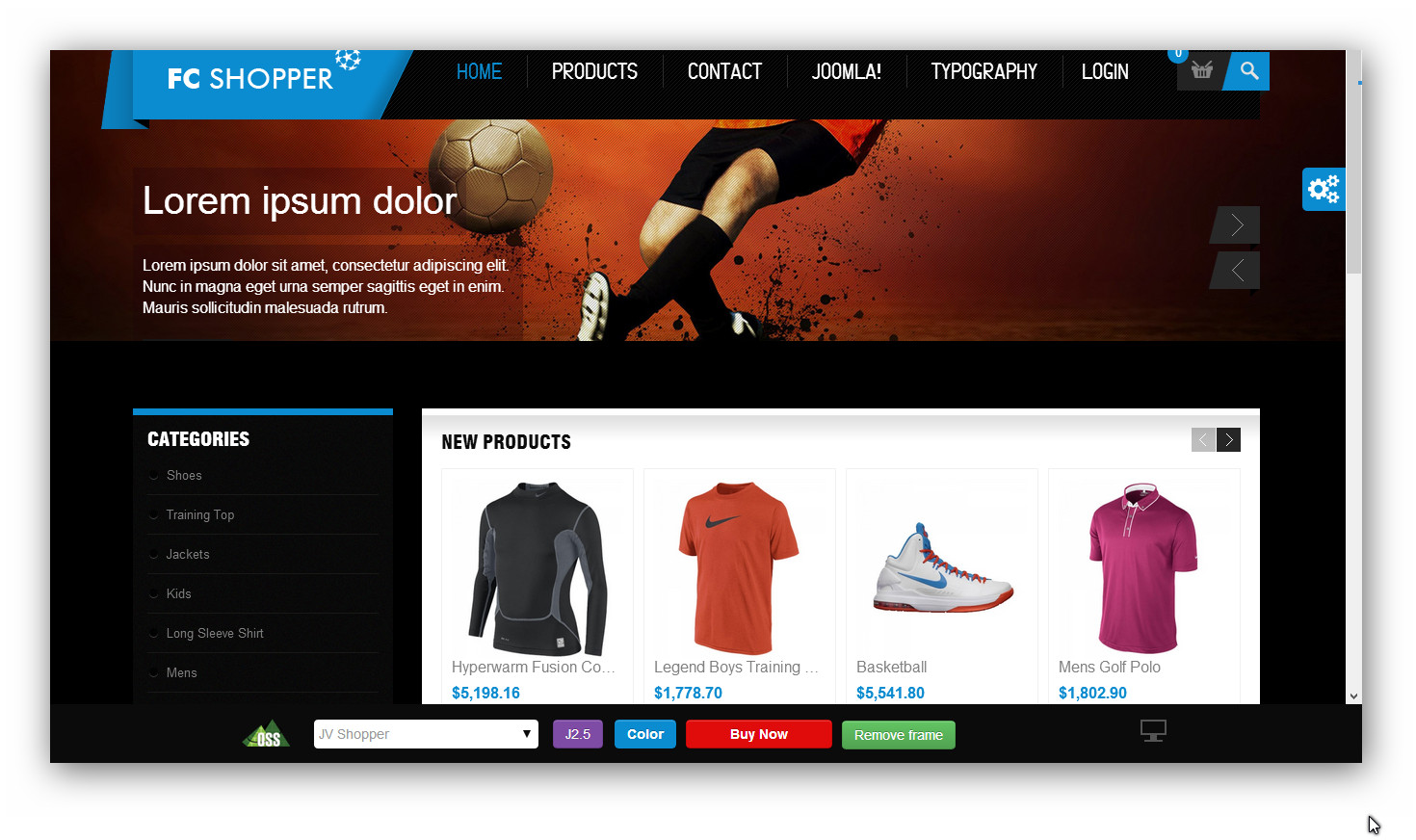 Online sporting goods store