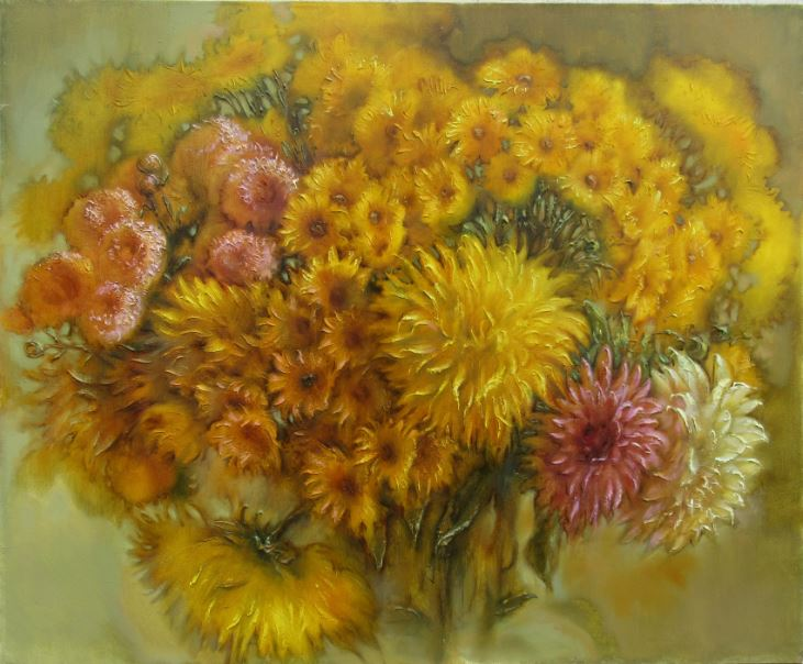 "Author´s oil painting ""Yellow Flowers"""