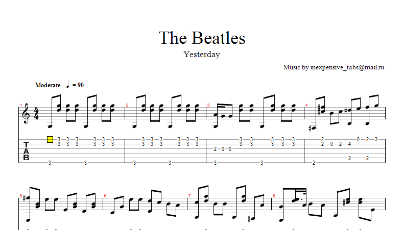 Yesterday (The Beatles) notes tabs.