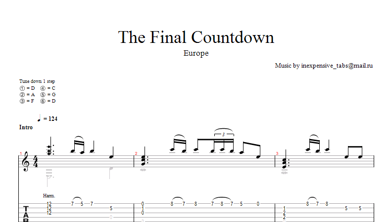 The Final Countdown (Europe) notes tabs.