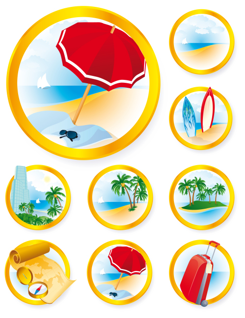 Vector icons and buttons on the theme of travel
