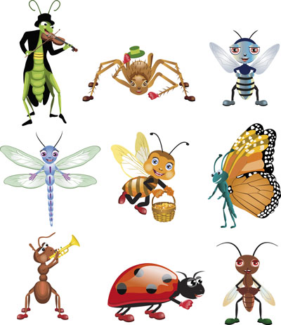 Spring icons. Vector beetles, dragonflies, butterflies, weight