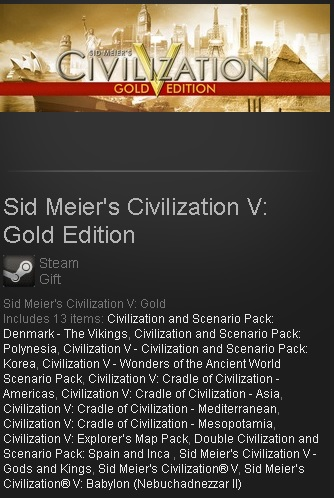 Civilization 5 V Gold +12 DLC (STEAM GIFT REGION FREE)