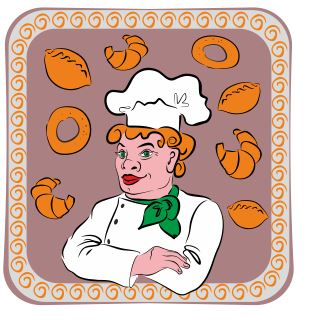 Vector drawing of a baker to advertise