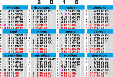 Calendar grid for pocket calendar for 2016