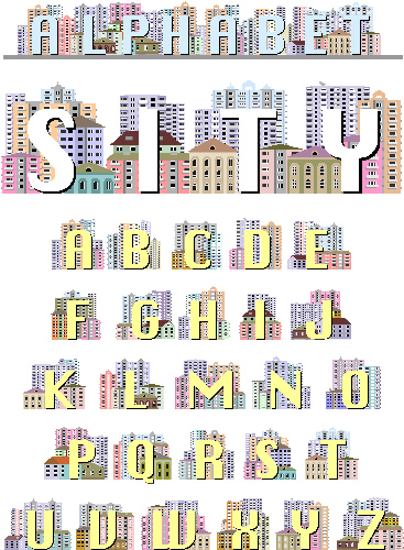 The Latin alphabet, decorated with drawings of houses