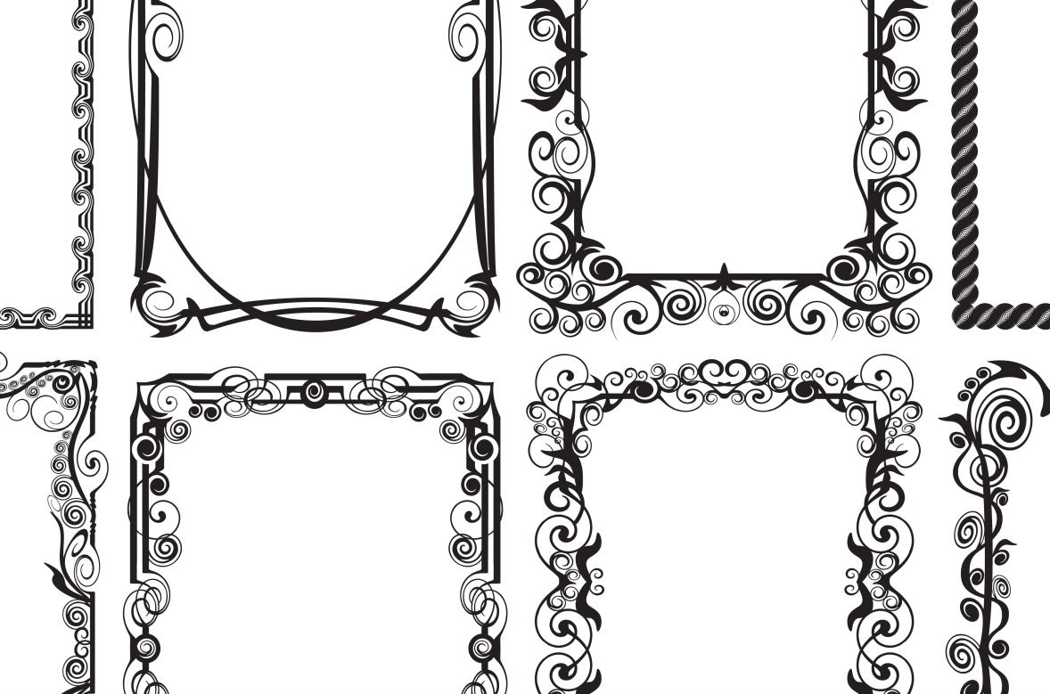 Black and white vector design frame for text