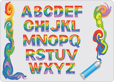 Rainbow letter of the English alphabet vector and frame
