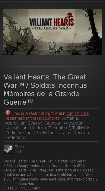 Valiant Hearts: The Great War (Steam / RU + CIS) + gift