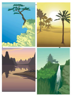 Beautiful scenery and landscapes of Asia (99 clipart images)
