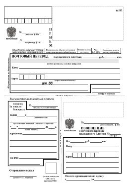 Blank Russian mail form 113
