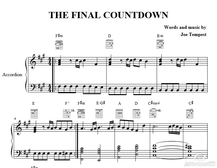 The Final Countdown. Europa. Piano Sheet Music Accordion