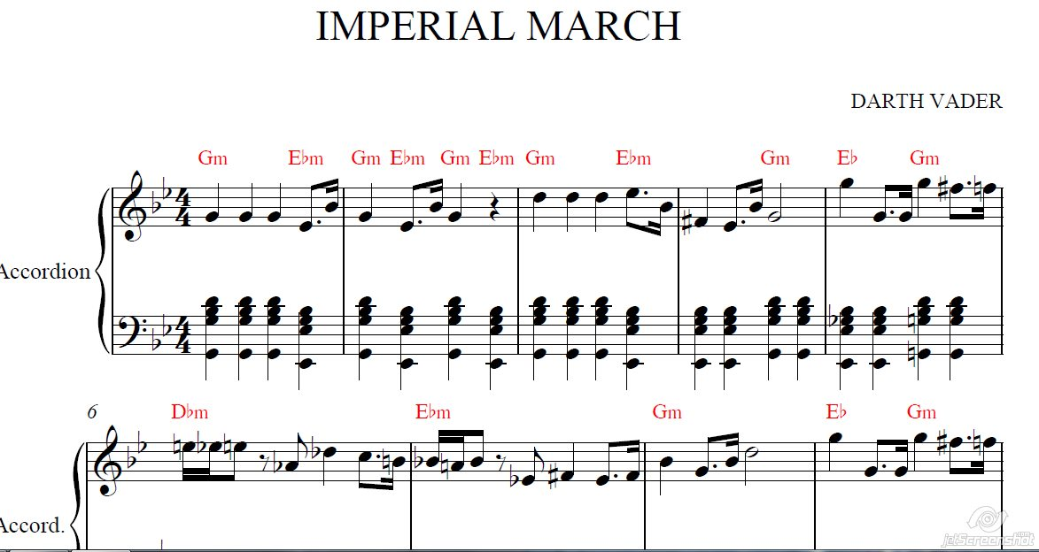 IMPERIAL MARCH (STAR \u200b\u200bWARS) for accordion /